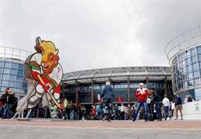 MINSK, BELARUS - MAY 9: Volat, the official tournament mascot, outside of Chizhovka Arena during preliminary round action at the 2014 IIHF Ice Hockey World Championship. (Photo by Richard Wolowicz/HHOF-IIHF Images)