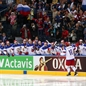 MINSK, BELARUS - MAY 9: Russia's Sergei Plotnikov #16 celebrates at the bech with teammates after a first period goal against Switzerland during preliminary round action at the 2014 IIHF Ice Hockey World Championship. (Photo by Andre Ringuette/HHOF-IIHF Images)