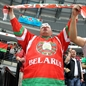MINSK, BELARUS - MAY 9: Belarus fan cheering on his team during preliminary round action against the U.S. at the 2014 IIHF Ice Hockey World Championship. (Photo by Andre Ringuette/HHOF-IIHF Images)