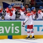 MINSK, BELARUS - MAY 12: Czech Republic's Roman Cervenka #10 celebrates with the bench after scoring Team Czech Republic's first goal of the game during preliminary round action at the 2014 IIHF Ice Hockey World Championship. (Photo by Richard Wolowicz/HHOF-IIHF Images)
