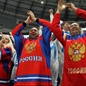 MINSK, BELARUS - MAY 12: Russian fans cheering on their team against the U.S. during preliminary round action at the 2014 IIHF Ice Hockey World Championship. (Photo by Andre Ringuette/HHOF-IIHF Images)