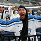 MINSK, BELARUS - MAY 13: Finland fan cheering on his team against Germany during preliminary round action at the 2014 IIHF Ice Hockey World Championship. (Photo by Andre Ringuette/HHOF-IIHF Images)