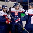MINSK, BELARUS - MAY 14: Slovakia's Tomas Tatar #90 celebrates with Juraj Mikus #71 and Michel Miklik #19 after scoring Team Slovakia's first goal of the game during preliminary round action at the 2014 IIHF Ice Hockey World Championship. (Photo by Richard Wolowicz/HHOF-IIHF Images)