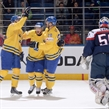 MINSK, BELARUS - MAY 16: Sweden's Gustav Nyquist #41 celebrates after scoring Team Sweden's first goal of the game during preliminary round action at the 2014 IIHF Ice Hockey World Championship. (Photo by Richard Wolowicz/HHOF-IIHF Images)