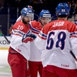MINSK, BELARUS - MAY 17: Czech Republic's Jakub Klepis #20 celebrates with Ondrej Nemec #23 and Jaromir Jagr #68 after scoring Team Czech Republic's first goal of the game during preliminary round action at the 2014 IIHF Ice Hockey World Championship. (Photo by Richard Wolowicz/HHOF-IIHF Images)