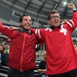 MINSK, BELARUS - MAY 17: Switzerland fans cheering on their team against Kazakhstan during preliminary round action at the 2014 IIHF Ice Hockey World Championship. (Photo by Andre Ringuette/HHOF-IIHF Images)