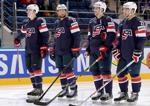 cba411b7281 ... BELARUS - MAY 22  Team USA stands on the blue line before facing
